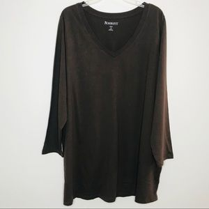 Romans Brown VNeck Long Sleeve Tee